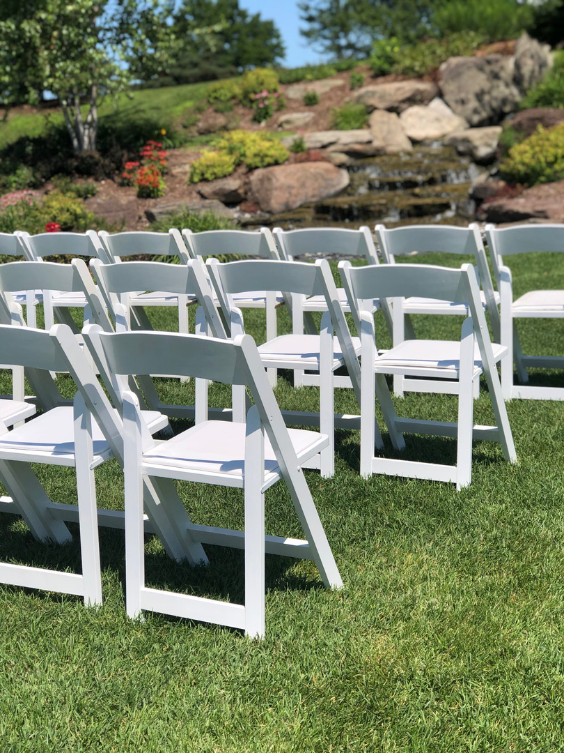 White wooden folding chair rentals Grand Rapids