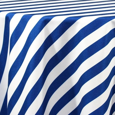 Navy and White Stripe Printed Poly