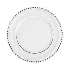 Silver Beaded Glass Charger Plate rental for wedding or event in Grand Rapids, Grand Blanc, Traverse City Michigan