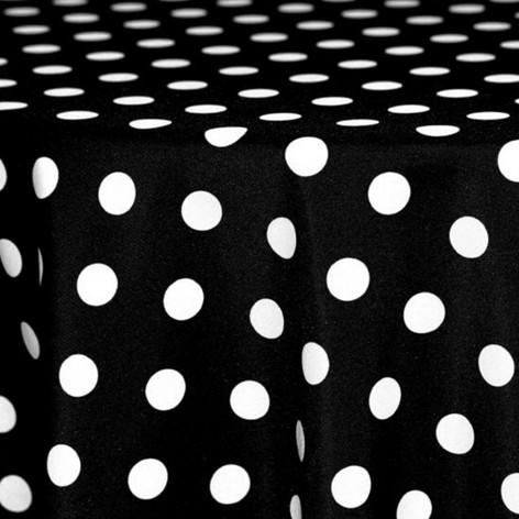 Black and White Polka Dot Printed Poly
