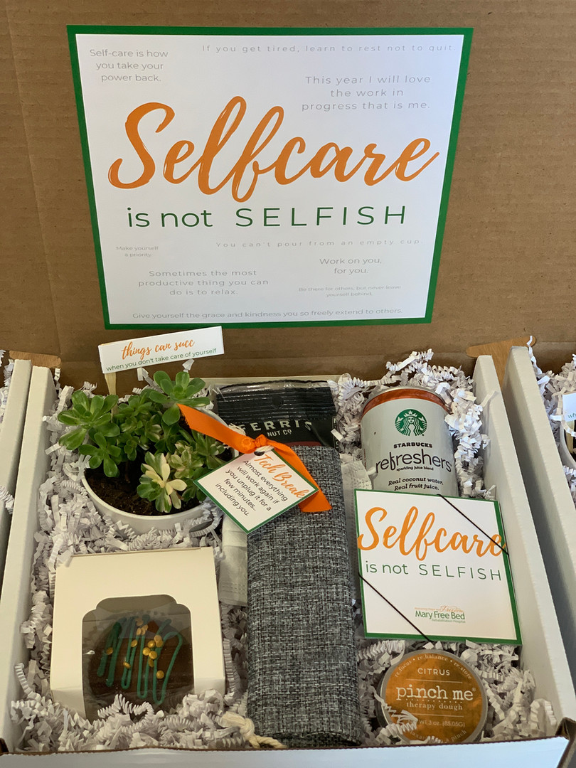 Health care worker curated gift box for virtual leadership meeting