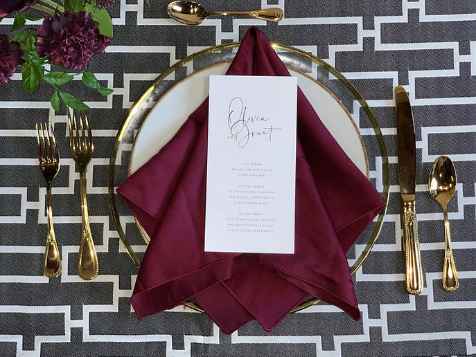 Table Setting, Charger, Gold silverware  Rental near Grand Rapids, Grand Blanc, Traverse City, Michigan