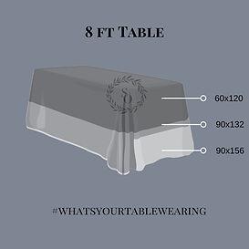 8ft Table Linen size measurement guide