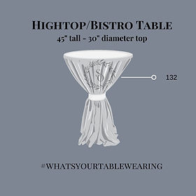 Hightop Cocktail Table tied size measurement guide