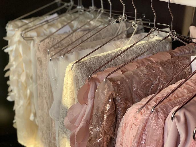 Linens hanging in Showroom