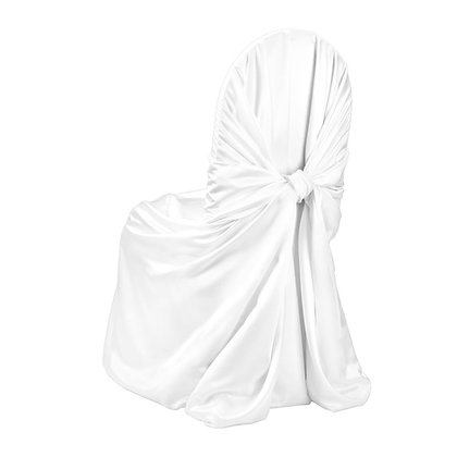 White satin pillowcase chair cover rental for wedding or special event in Michigan