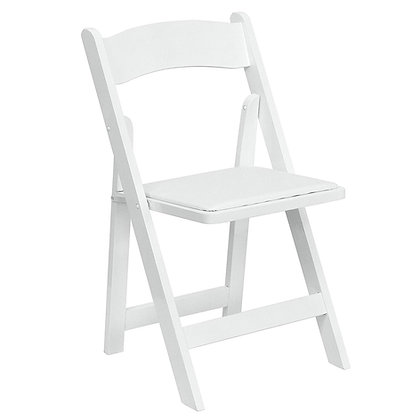 White wood garden folding chair Rental for wedding event and ceremony in Grand Rapids, Grand Blanc Traverse City Michigan