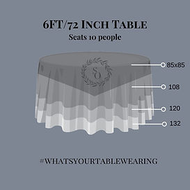 6 ft Round Table linen size measurement guide