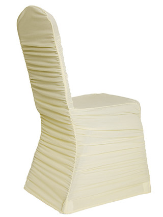 Ivory Ruched Chair Cover