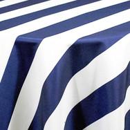Navy Cabana Stripe Printed Poly
