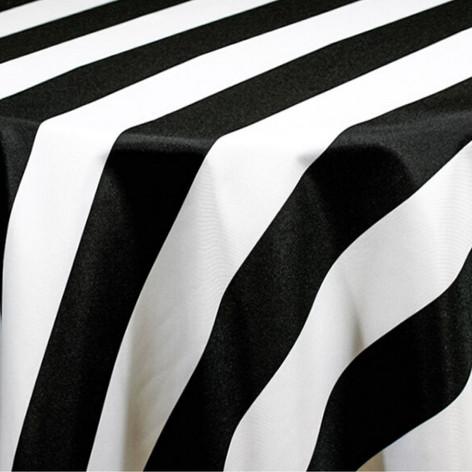 Black Cabana Stripe Printed Poly