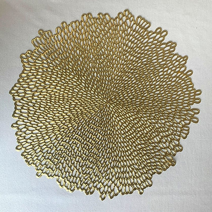 Gold Dahlia placemat table rental for wedding, event, gala, fundraiser
