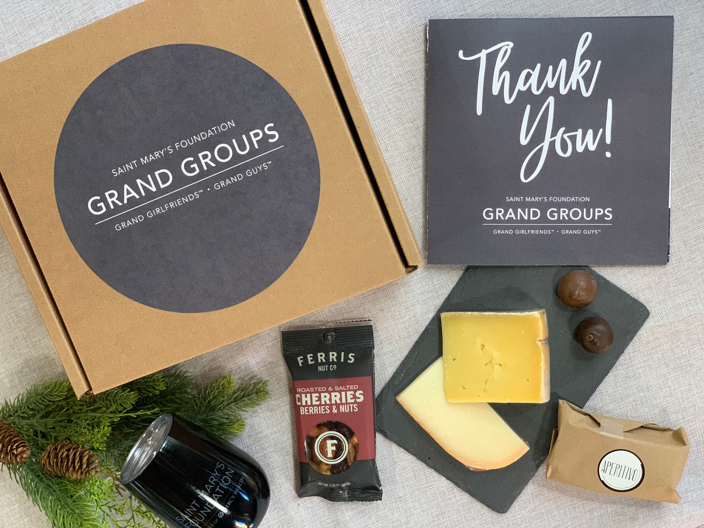 Virtual Event Box with Wine, Cheese, Nuts