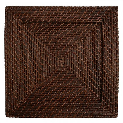 Mahogany Square Wicker Charger