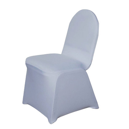Silver spandex chair cover rental in Grand Rapids, Grand Blanc and Traverse City for wedding, event or party rental