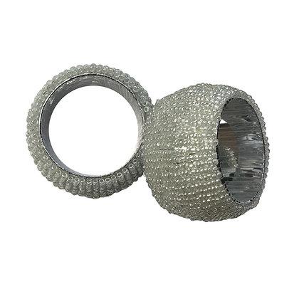 Light Silver Beaded Napkin Rings