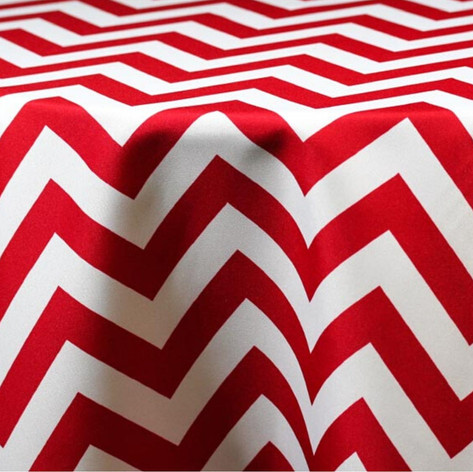 Red and White Chevron Printed Poly