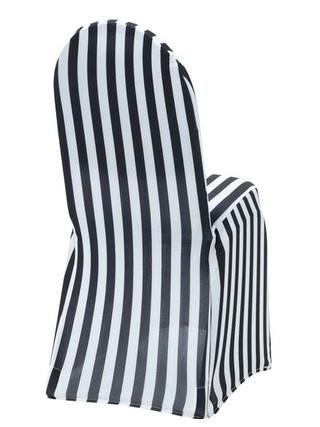 Black & White Stripe Spandex Chair Cover