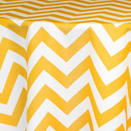 Gold and White Chevron Printed Poly
