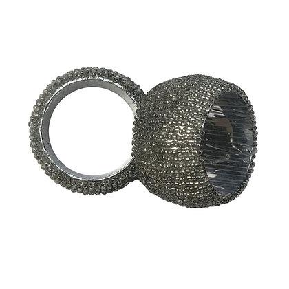 Dark Silver Beaded Napkin Rings