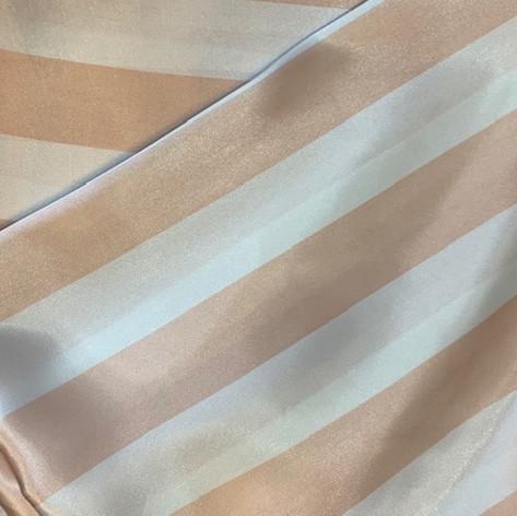 Peach and White Stripe Matte Satin