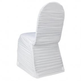White Ruched spandex chair cover rental in West Michigan for wedding, gala or fundraising event