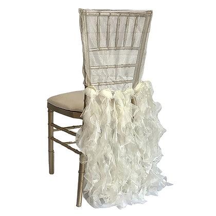 Ivory Curls Chiavari Chair Cap Cover Rental for wedding in Grand Rapids, Grand Blanc, Traverse City Michigan