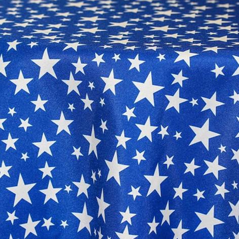 Royal Blue Stars Printed Poly