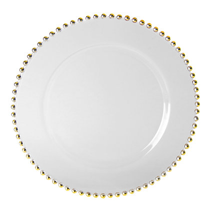 Gold beaded Glass charger plate rental for wedding and event in Grand Rapids, Grand Blanc, Traverse City Michigan
