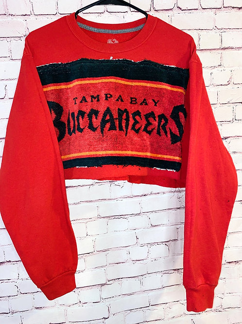 Textured Tampa Bay Bucs Cropped Crew neck
