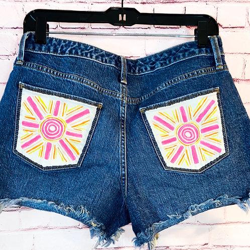 Abstract Sun Jean Shorts
