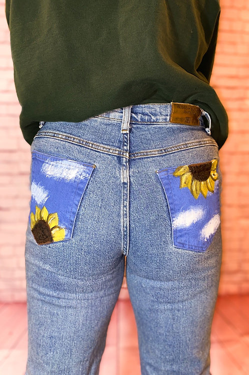 Sunflower hand painted Jeans