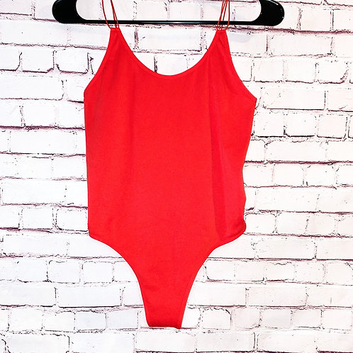 Red Lace Back Bodysuit