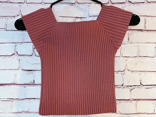 Ribbed Off the Shoulder Stretch Top