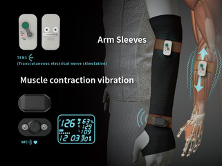 Wearable device TENS by compression arm sleeve of body recovery 穿戴式電療壓力袖套