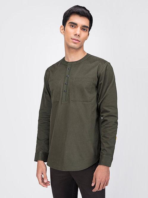 Olive Woven Henley Shirt