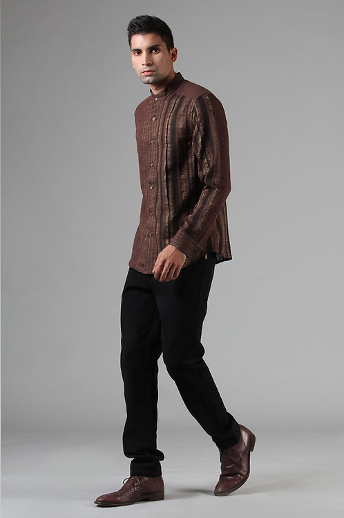 Chestnut Brown Pleated Dress Shirt | Ahimsa Silk Brocade
