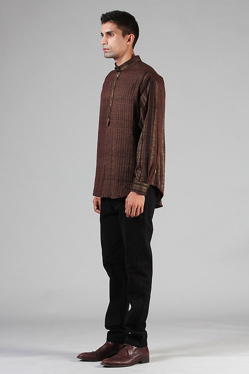 Chestnut Brown Masutā  Short Kurta | Handloom Ahimsa Silk Brocade
