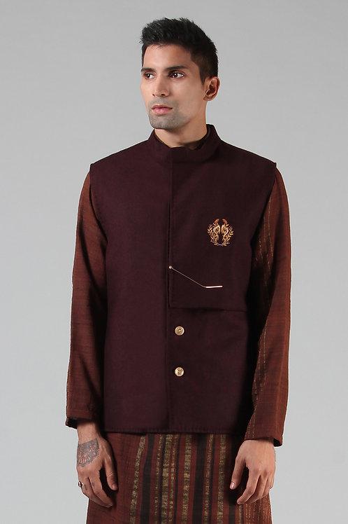 Maroon Cowl Collar Waist Coat | Merino Wool