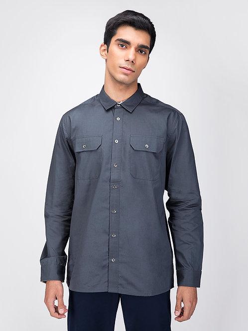 Grey Straight Hem Utility Shirt