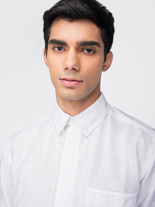 Crisp White Linen Shirt |  Button-down Collar