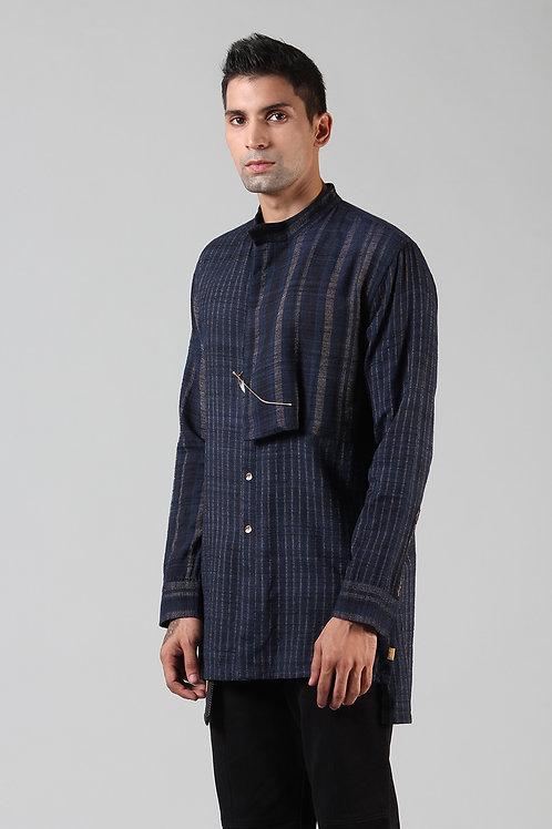 Navy Embroidered Latitude Shirt | Ahimsa Silk Brocade
