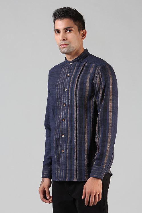 Navy Pleated Dress Shirt | Ahimsa Silk Brocade