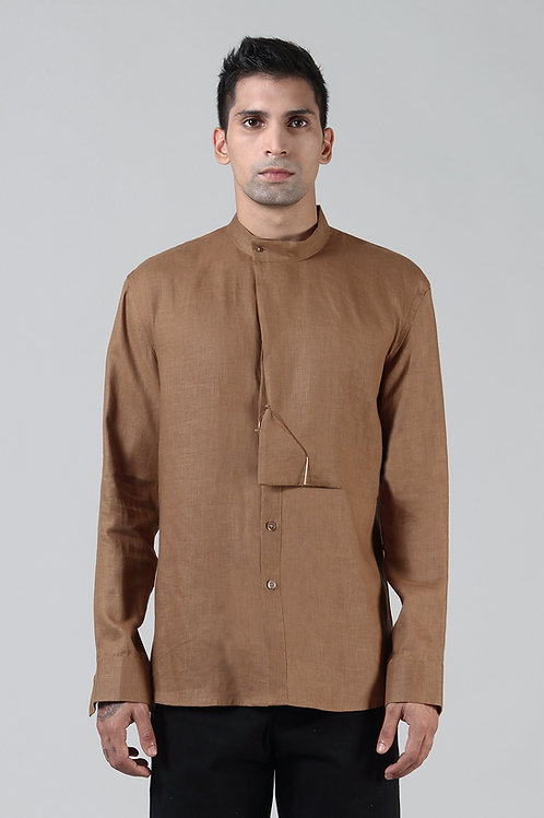Bronze Cowl Collar Dress Shirt | Pure Hemp