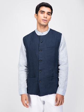 Navy linen nehru jacket
