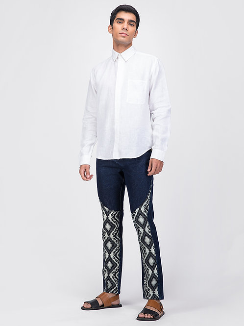 Blue Geometric Tapered Jeans