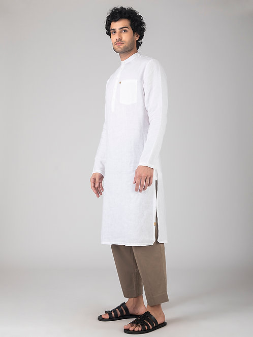 Slim Collar Basic Long Kurta | White Linen