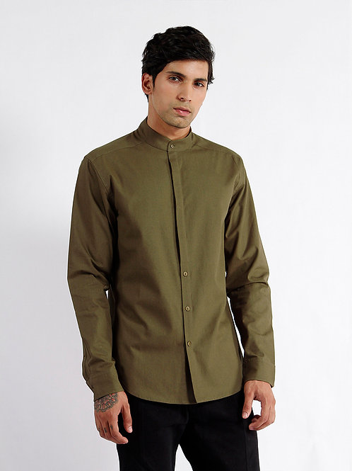 Olive Anti-Split Fitted Casual Shirt