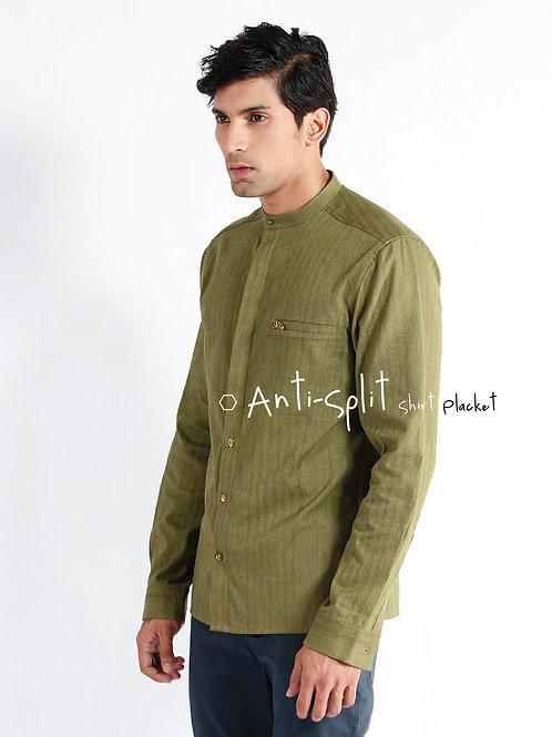 Harmony Dress Shirt | Olive Hand-woven Chevron Cotton