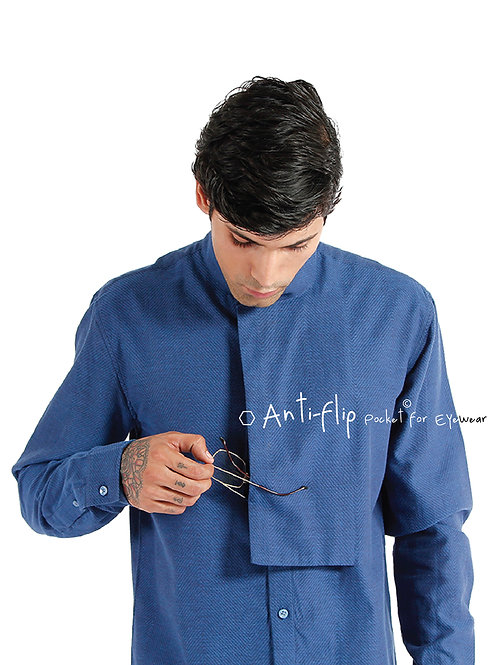 Latitude Shirt | Indigo Handwoven Chevron Cotton